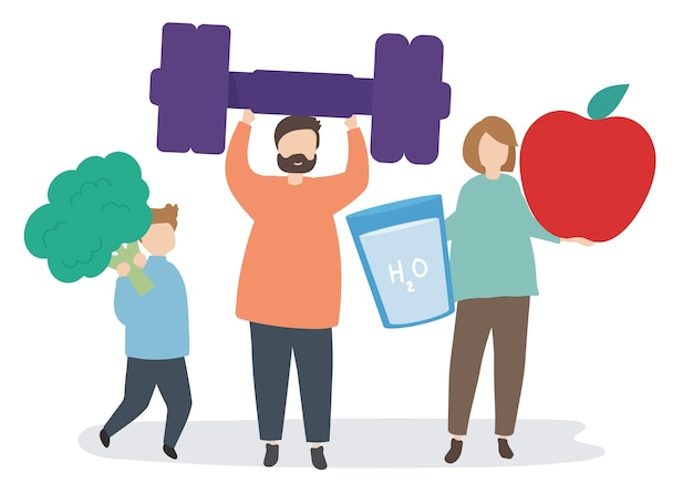 People with fitness and exercise icons Free Vector