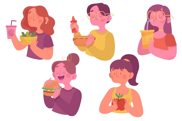 People with food concept Free Vector