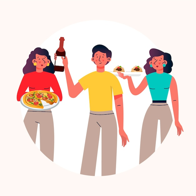 People with food and wine Free Vector