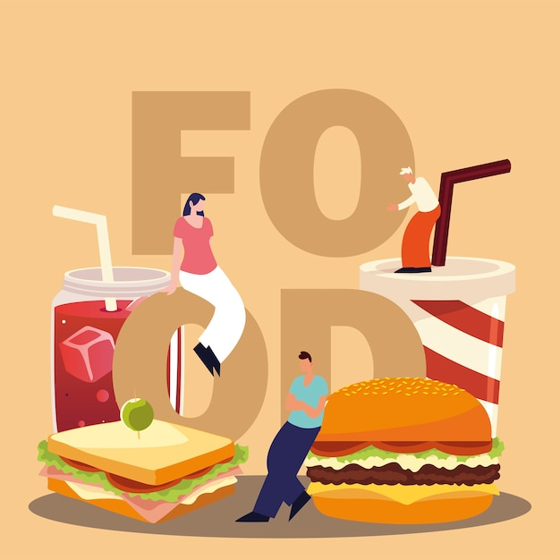 People with food word, burger sandwich soda and juice vector illustration Premium Vector