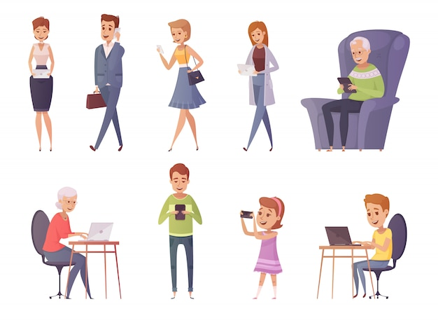 People with gadgets decorative icons set of people using phone tablet laptop in cafe and home interi Free Vector