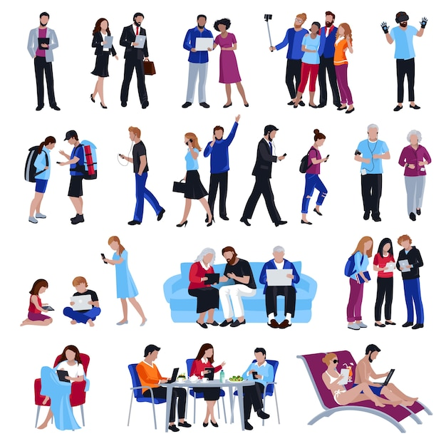 People with gadgets Free Vector