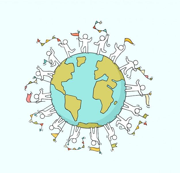 Люди с гирляндами и флагами по всему миру Premium векторы