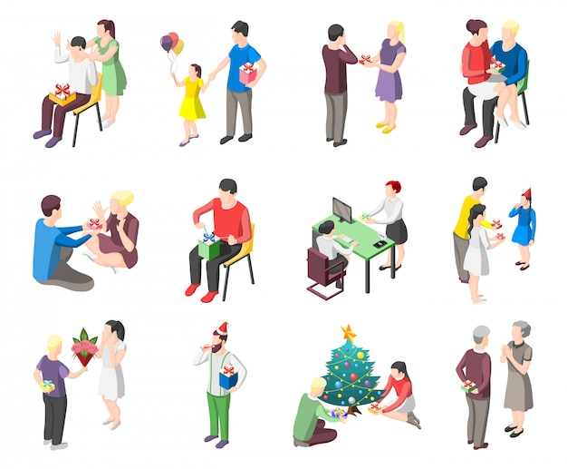 People with gifts isometric characters Free Vector