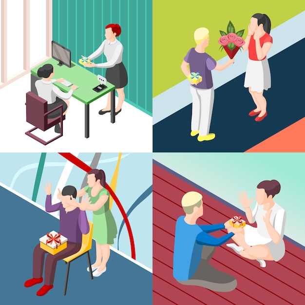 People with gifts isometric concept Free Vector
