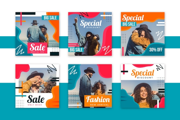 People with hats social media template template sales Free Vector