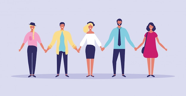 People with held hands Premium Vector