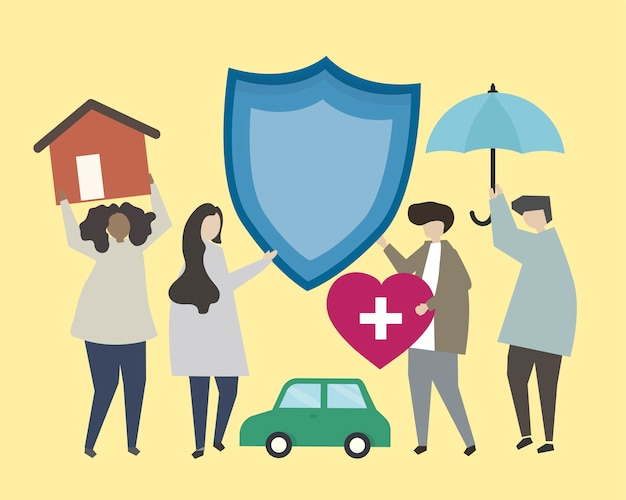 People with insurance icons illustration Free Vector