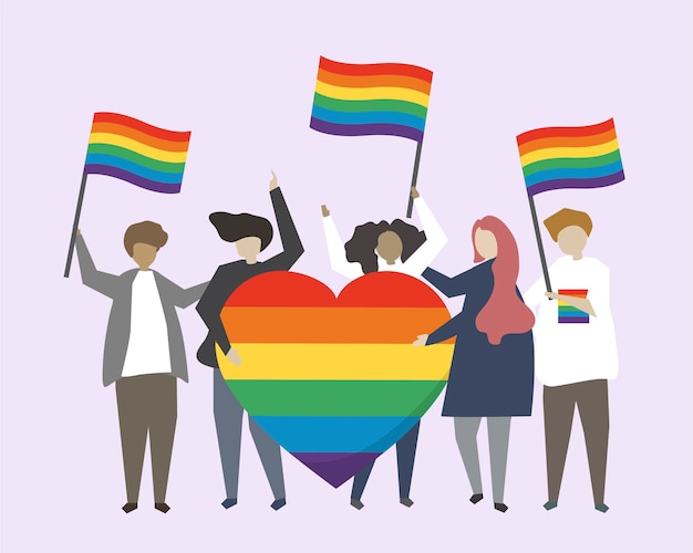People with lgbtq rainbow flags illustration Free Vector