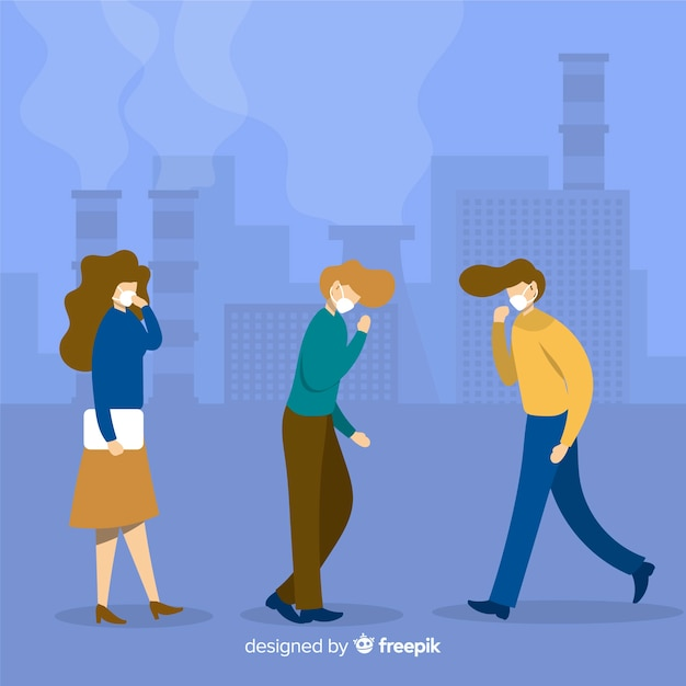 People with mask in a industrial city Free Vector