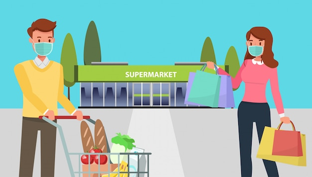 people with mask shopping during the prevention of coronavirus in supermarket