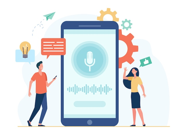 スマートボイスアシスタントソフトウェアを使用している携帯電話を持っている人。マイクと音波で画面の近くの男性と女性。録音、アプリインターフェース、aiテクノロジーコンセプト 無料ベクター