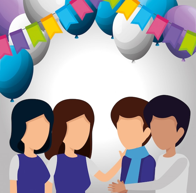 People with party flags and balloons decoration Vector ...
