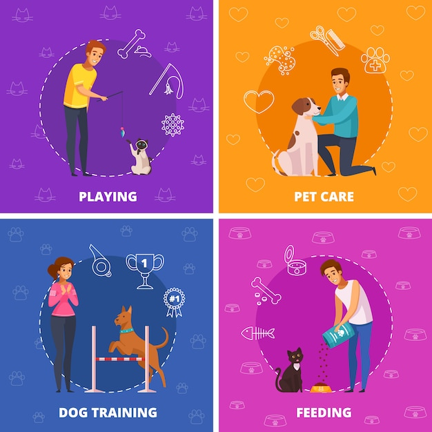 People with pets 2x2 cartoon square icons Free Vector