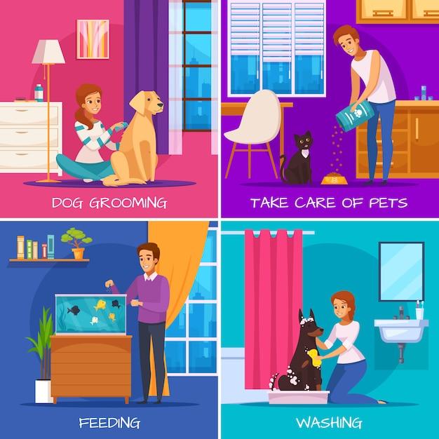Концепция дизайна люди с животными 2х2 Бесплатные векторы