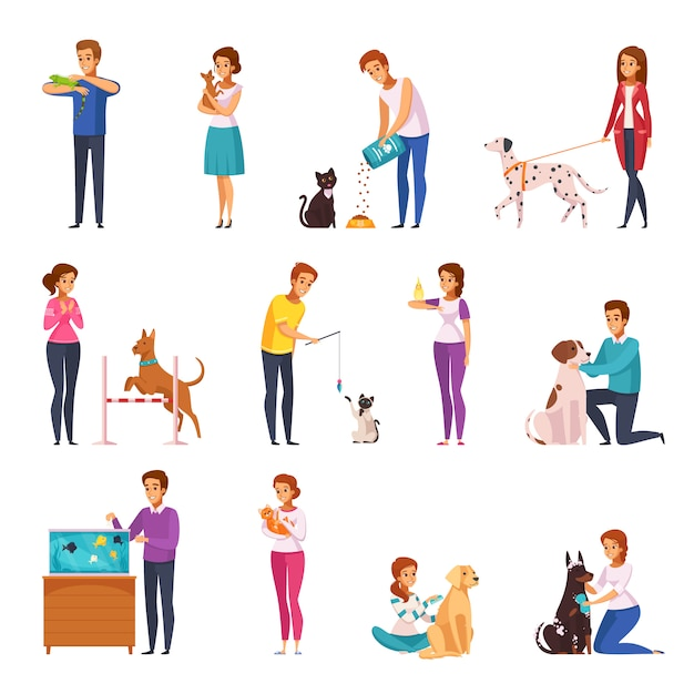 People with pets cartoon set Free Vector
