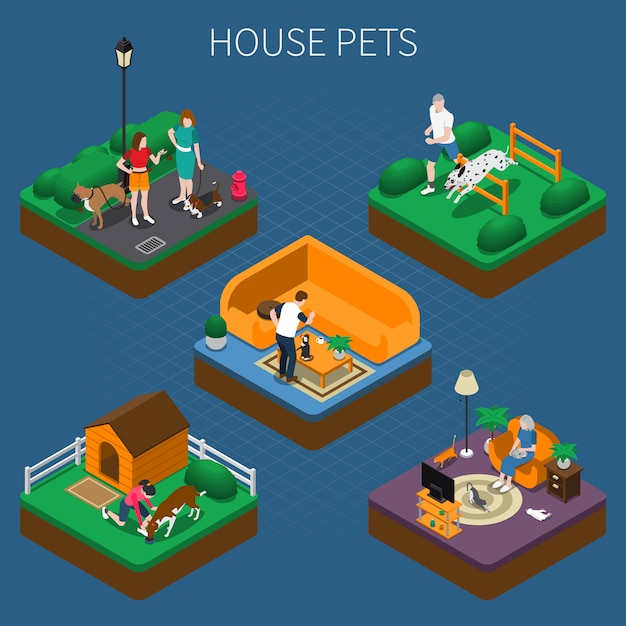 People with pets composition set Free Vector