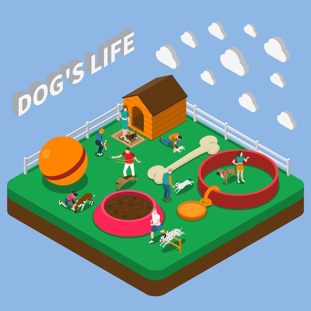 People with pets composition Free Vector