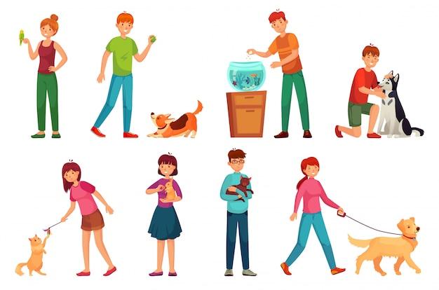 ペットを持つ人々。犬と遊んで幸せなペットと犬の所有者漫画のベクトルイラストセット Premiumベクター