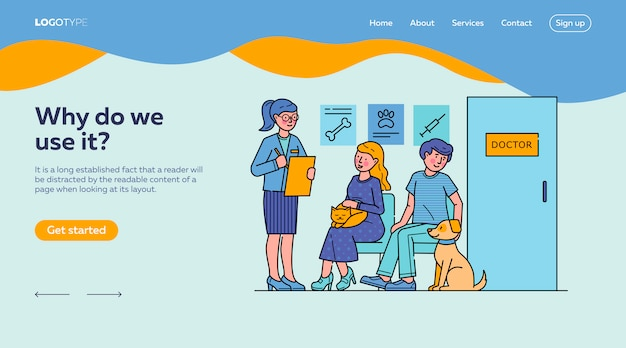 People with pets waiting for doctor in queue landing page template Free Vector