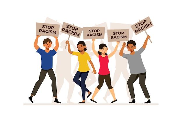 Люди с плакатами останавливают концепцию расизма Бесплатные векторы
