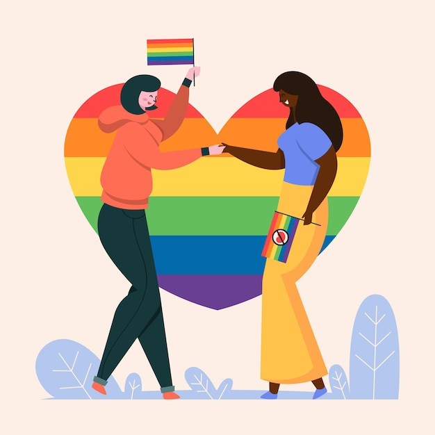 People with pride flag holding hands Free Vector