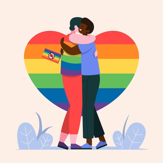 People with pride flag hugging Free Vector