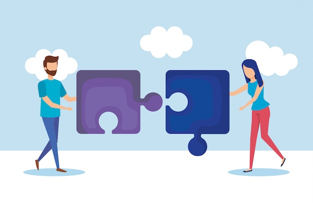 People with puzzle Free Vector