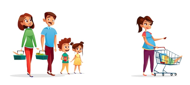 People with shopping carts, family with children and pregnant woman in supermarket Free Vector