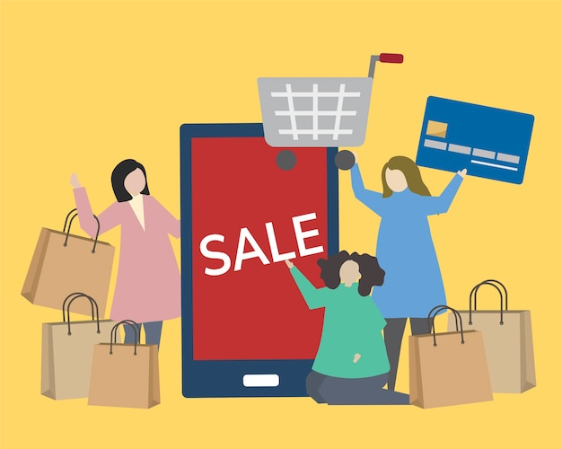 People with shopping icons illustration Free Vector