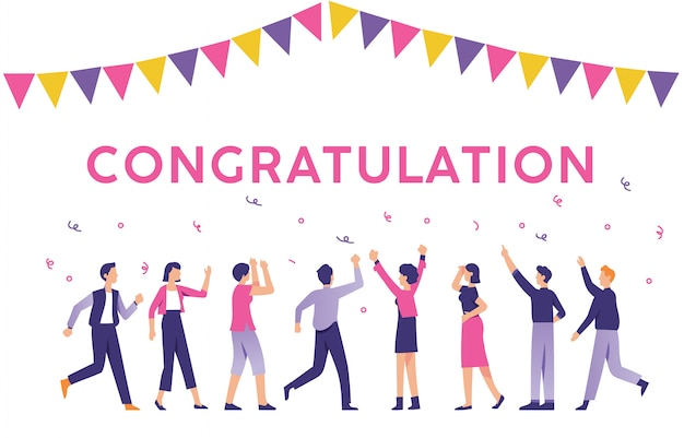 People with the sign of congratulation Premium Vector