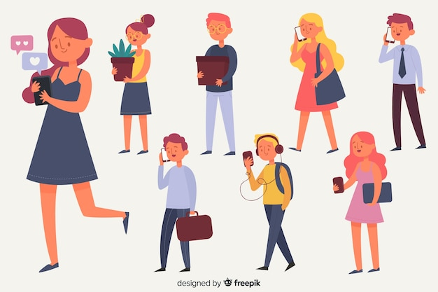 People with smartphone collection Free Vector