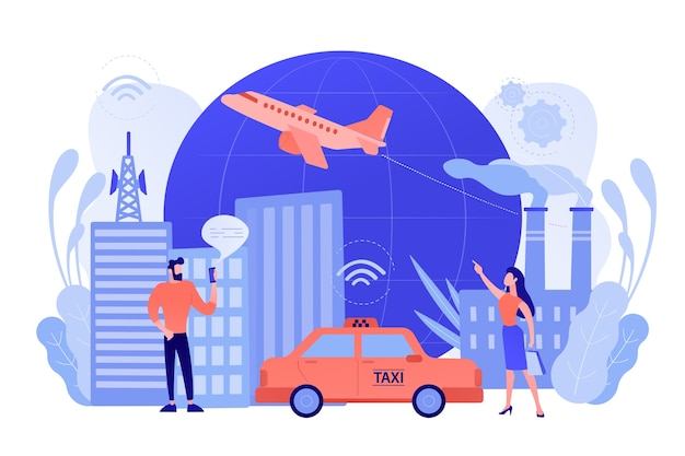 People with smartphones around modern facilities connected to global web network with wi-fi signs. internet of things, iot infrastructure and smart city concept. vector illustration Free Vector