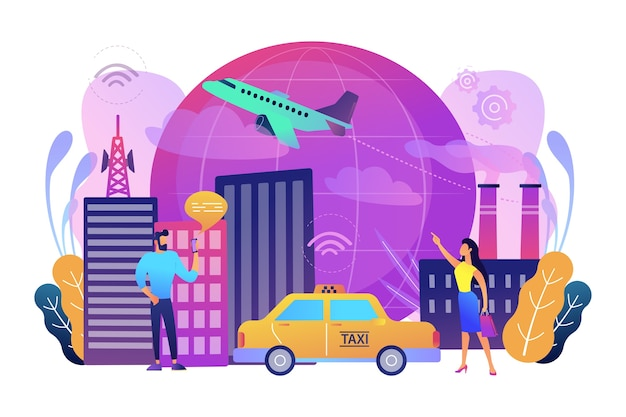 People with smartphones around modern facilities connected to global web network with wi-fi signs Free Vector