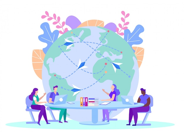 People with source information on globe. distance learning. e-learning. online training. people sit at table with laptops. Premium Vector
