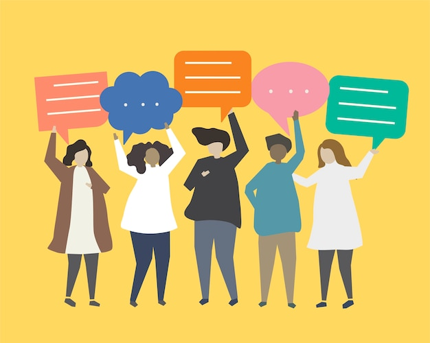 People with speech bubbles illustration Free Vector