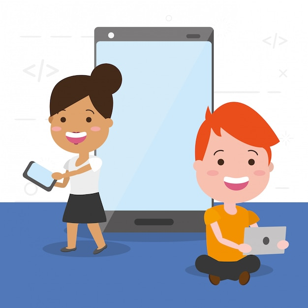 People with tech devices Free Vector