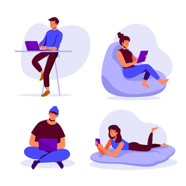People with technology devices concept Free Vector