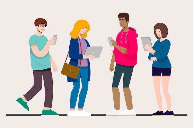 Люди с технологическими устройствами Бесплатные векторы