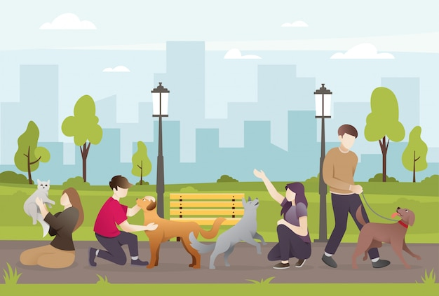 People with their pets in the park Premium Vector