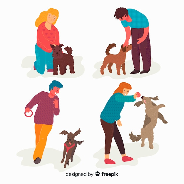People with their pets Free Vector