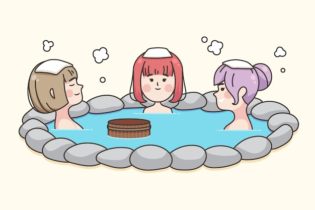 People with towels on heads sitting in onsen Free Vector