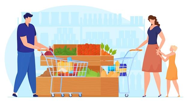 Люди с тележками в овощном отделе супермаркета, женщина с ребенком в супермаркете, мужчина за покупками. векторная иллюстрация Premium векторы