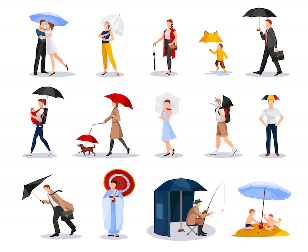 People with umbrellas collection Free Vector