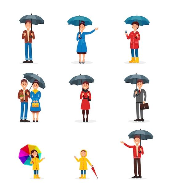 傘セット、男、女、白い背景の上の傘の図の下を歩く子供を持つ人々 Premiumベクター