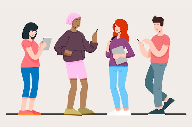 People with variety of tech devices Free Vector