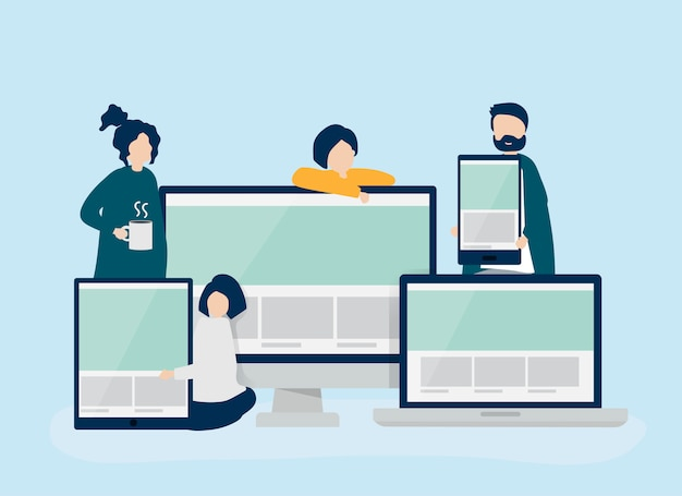 People with web design concept illustration Free Vector