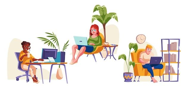 Люди работают в домашнем офисе, сидя в кресле с ноутбуком Бесплатные векторы