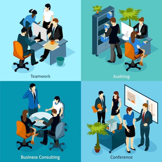 People on work isometric icon set Free Vector