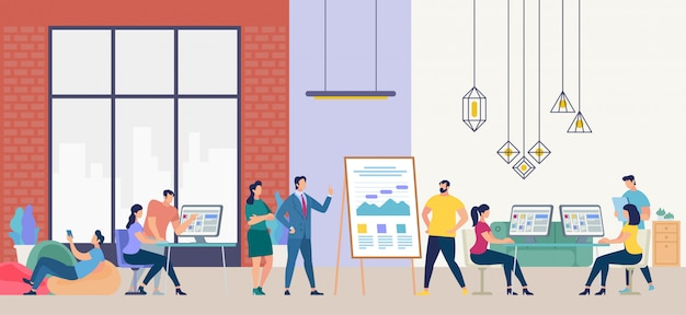 People work in office. vector illustration. Premium Vector